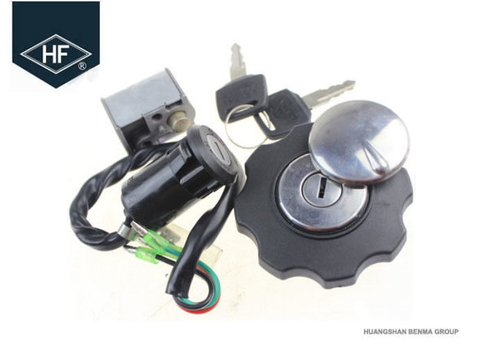 Motorcycle 4 Wire Ignition Switch Lock Fuel Gas Tank Cap Cover Steering Lock Set For Honda CG125
